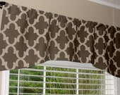 """Premier Prints Arch Shaped Fynn Mocha Latte Valance 52"""" wide x 19"""" long Lined with Cotton Muslin Dusty Brown and Khaki"""