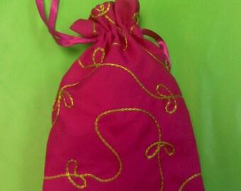 6 Fuschia sash bags, sash pouches, favor bags, party favors