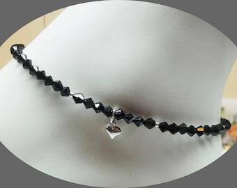 Black Ankle Bracelet Crystal Ankle Bracelet Heart Anklet Black Crystal Anklet 925 Sterling Silver Anklet Ankle Jewelry BuyAny3+Get1 Free