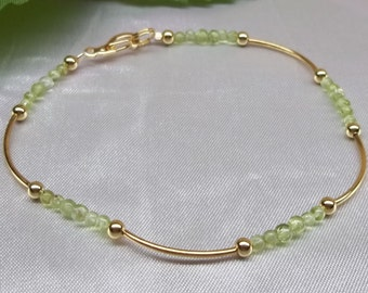 Peridot Anklet Gold Anklet Peridot Ankle Bracelet Gemstone Anklet 14k Gold Filled Not Plated Stamped GF 1/20 BuyAny3+Get1Free