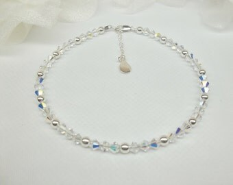 Clear AB Crystal Ankle Bracelet Clear Crystal Anklet Sterling Silver Anklet Bracelet 925 Sterling Silver Anklet BuyAny3+1Free