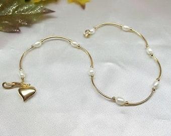 14k Gold White Pearl Anklet Ankle Bracelet White Pearl Anklet Gold Heart Anklet 14k Gold Plate BuyAny3+Get1Free