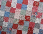 Floral Patchwork Quilt, Patchwork Quilt, Floral Quilt, Blue Quilt, Red Quilt, Lap Quilt
