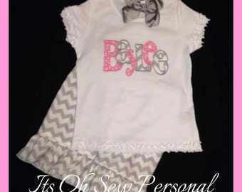 Personalized pink & grey chevron outfit