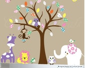 Childrens wall decals - nursery tree decal - Safari Jungle Friends -