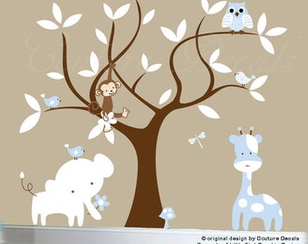 Boys nursery jungle decal set - tree wall decal jungle animal wall decals - 0215
