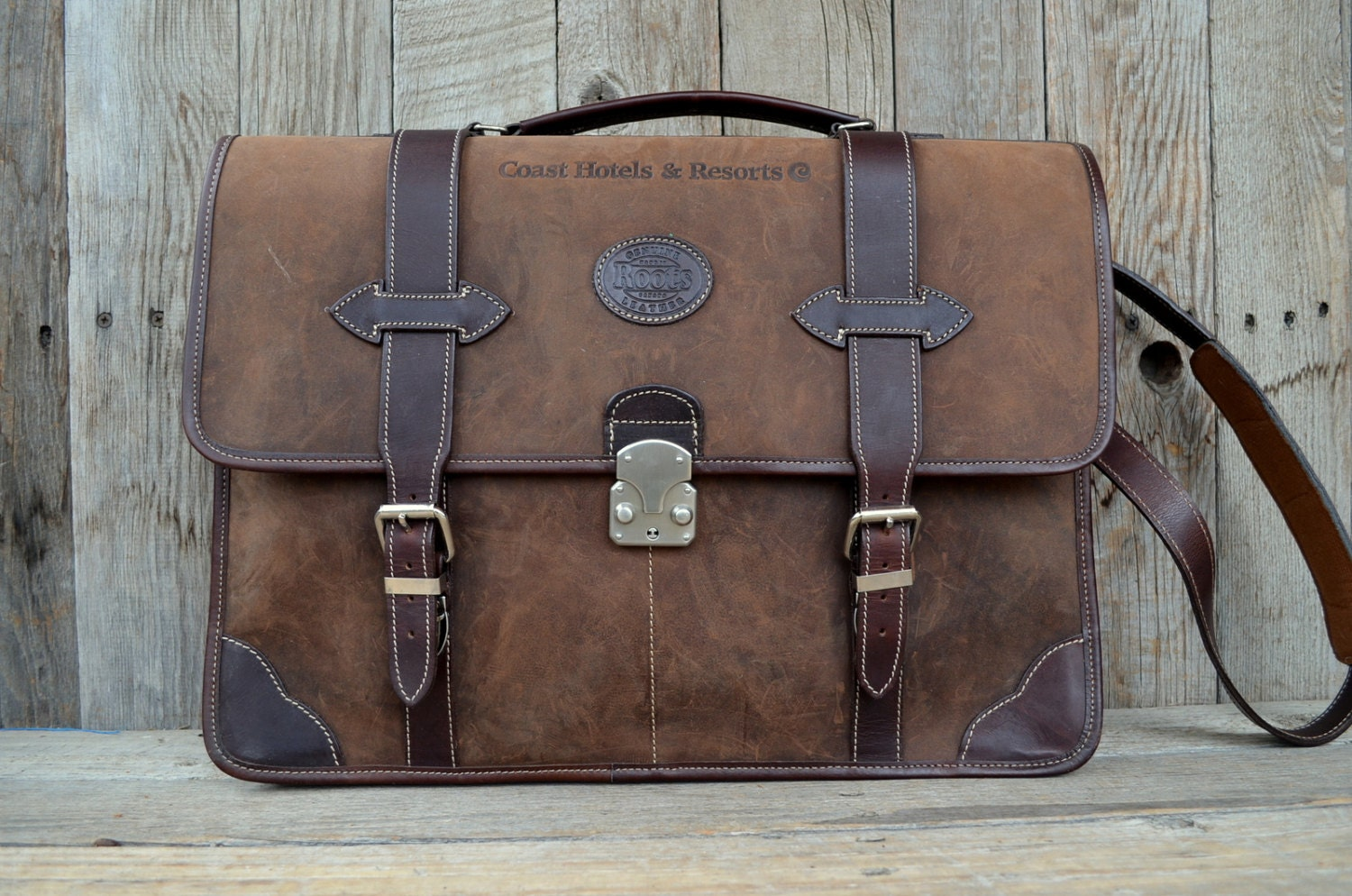 Vintage Roots Canada Brown Leather Briefcase Messenger Bag