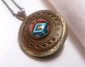 Bronze Image Locket Necklace - Pattern - Filigree - Photo - Mexican - Indian - Tribal