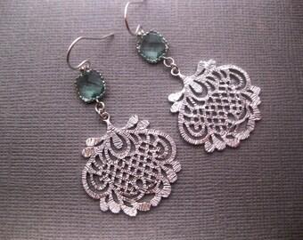 Chandelier Earrings - Square Earrings - Crystal Earrings - Ornate - Oriental - Prasiolite Green - Fan - Pattern - Light Green