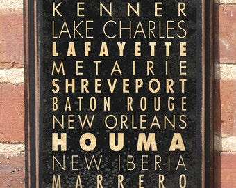 Louisiana LA Wall Art Sign Plaque Home Decor Gift Present New Orleans Bayou Vintage Style Cajun Creole Shreveport Lafayette Antique