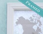 11x14 FRAMED Wedding Guest Book Alternative World Map  -  11x14 - Custom Designed
