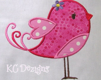 Valentine Love Bird With Flower Machine Applique Embroidery Design - 4x4, 5x7 & 6x8