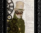 Steampunk Cat - Geekery Professor Emerald - Top Hat And Suit -  Vintage Dictionary Print  Book Print Page Art Upcycled Vintage Book Art