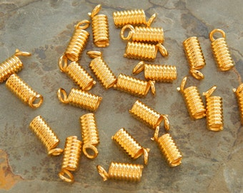 9X3.5mm Gold Plated Coil End Crimp Fasteners, 24 PC (INDOCO4)