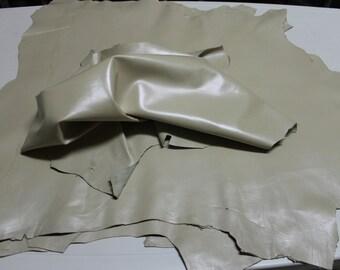 Italian goatskin leather  hide skin LIGHT BEIGE PEARLIZED 6sqf