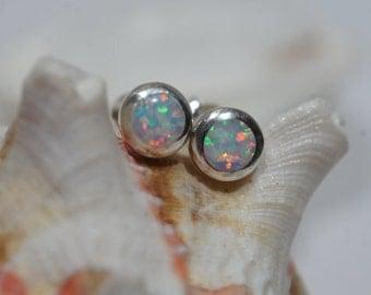 White Opal Stud Earrings Sterling Silver Opal Earrings