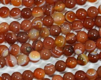 """Red Agate 6.3mm 15 1/2"""" Strand Beads Natural Gemstone Beads Agate Beads Jewelry Making Supplies"""