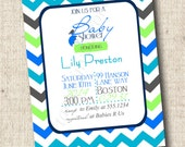 PRINTABLE Chevron Modern Baby Shower Invitations - Baby Boy or Girl - You Choose colors