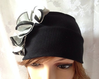Women's Jersey Turban Hair Band Headband Head Wrap with Black and White Ruffle