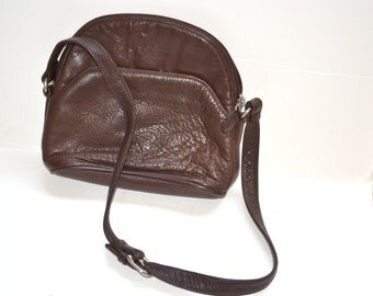 80s brown  leather G.H. Bass handbag shoulder travel  small bag   unisex back to school