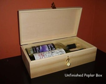 Unfinished Wooden Wine Box w/ Hinges & Lock- Holds 2 Bottles of Wine-unfinished wood box-engravable wood box-personalized laser engraving