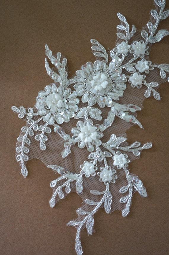 ivory beaded lace applique alencon lace applique for bridal