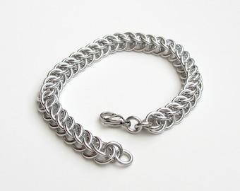 Silver aluminum chainmail bracelet, Half Persian 3 in 1, for men or women