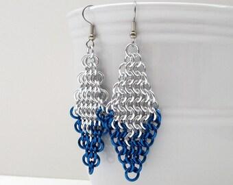 Silver & blue chainmail earrings, large diamond shaped earrings, European 4 in 1 chainmail jewelry, blue earrings