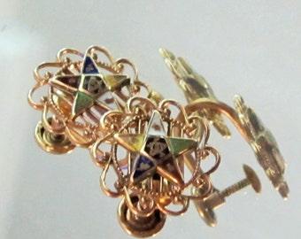 10K Vintage Eastern Star Filligree Gold Earrings