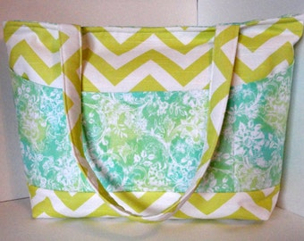 SALE - Diaper Bag - Canal Green Chevron - Large Diaper Bag - 12 Pockets - Yellow Green and Mint Green