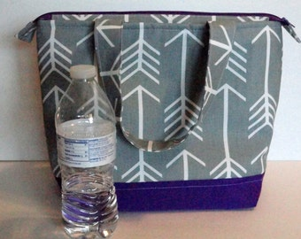Lunch Bag, Insulated, Grey Arrow Print, Womens Lunch Bag, Girls Lunch Bag,  Zipper Top, Made to Order, Choose Your Color and Size