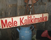 "Primitive Holiday Wood Sign Christmas in Hawaii ""  Mele Kalikimaka ""  Merry Christmas In Hawaiian Hand Painted Decoration Rustic  Housewares"