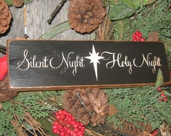 """Primitive  Holiday Wooden Sign Christmas """" Silent Night Holy Night """"  Hand Painted Christmas   Rustic  Housewares"""