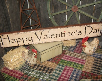 """Primitive Lg  Wood Love Sign """" Happy Valentine's Day """"  Hand Painted  Country  Rustic  Housewares"""