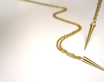 Gold Spike Necklace with Matte Gold Chain
