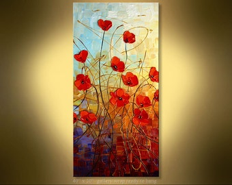 "Poppies Original Impressionist Palette Knife Floral  Painting from Paula on museum quality canvas 40"" x 20"""