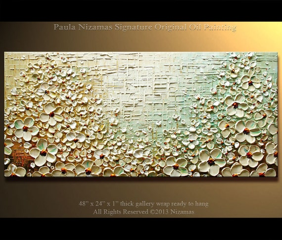"Prairie Blooms Painting Original Contemporary Textured Oil Floral Painting on canvas by P. Nizamas 48""  ready to hang"