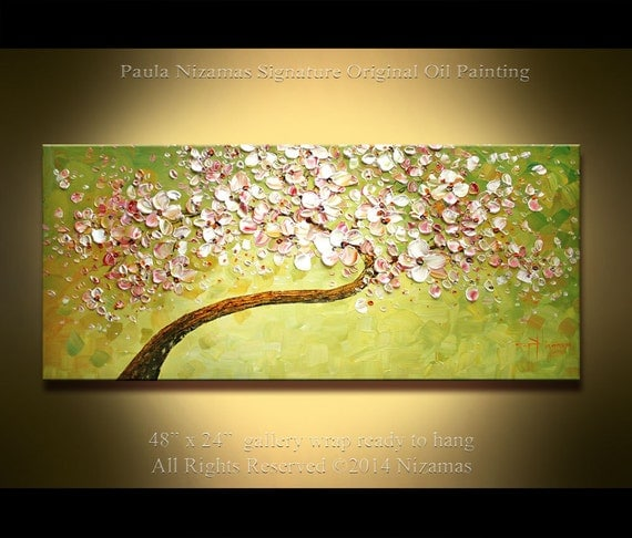 "Oil Painting 48"" x 24"" Palette Knife Ready to ship Spring  Modern Oil Cherry Blossom Tree Landscape by Paula NIzamas"