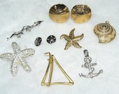 Vintage Beach Jewelry Lot-10 Piece Gold and SIlver Fun in the Sun