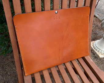 Leather Portfolio Handmade in the USA - Saddle Tan