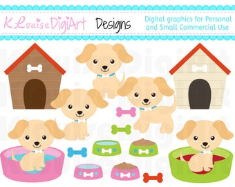 Cute Golden Fair Dog Puppy Clipart 1 for Personal and Small Commercial Use