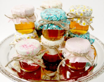 25 mini 2 oz. mason jars with mixed fabric