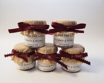 1 mini 2 oz. mason jar favor with cream and wine colors and labels, perfect for a fall or winter wedding!
