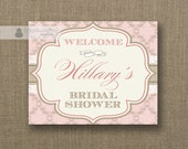 Pink Damask Welcome Sign Blush Pink Kraft Lace Bridal Shower Wedding Buffet Food Table Sign Printable 8x10 DIY Digital or Printed - Hillary