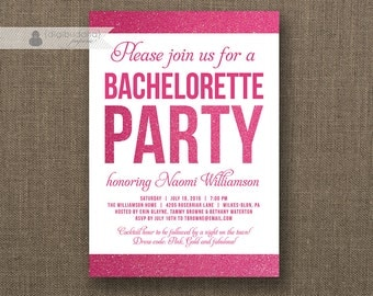 Hot Pink Glitter Bachelorette Party Invitation Modern Fuchsia Hot Pink Bridal Wedding Hens Party Lingerie DIY Printable or Printed- Naomi