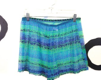 90s Sheer Neon Green and Blue Mesh Shorts