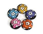 Fabric Covered Buttons Flowers in Squares Handmade Buttons Purple Blue Yellow Pink Orange on Black Pack of 5