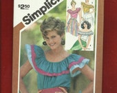 Vintage 1983 Simplicity 5940 Ruffled Off Shoulder Peasant Tops Size Small 10/12 UNCUT