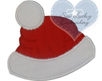 Santa Hat Appliqued Embroidered Patch , Sew or Iron on
