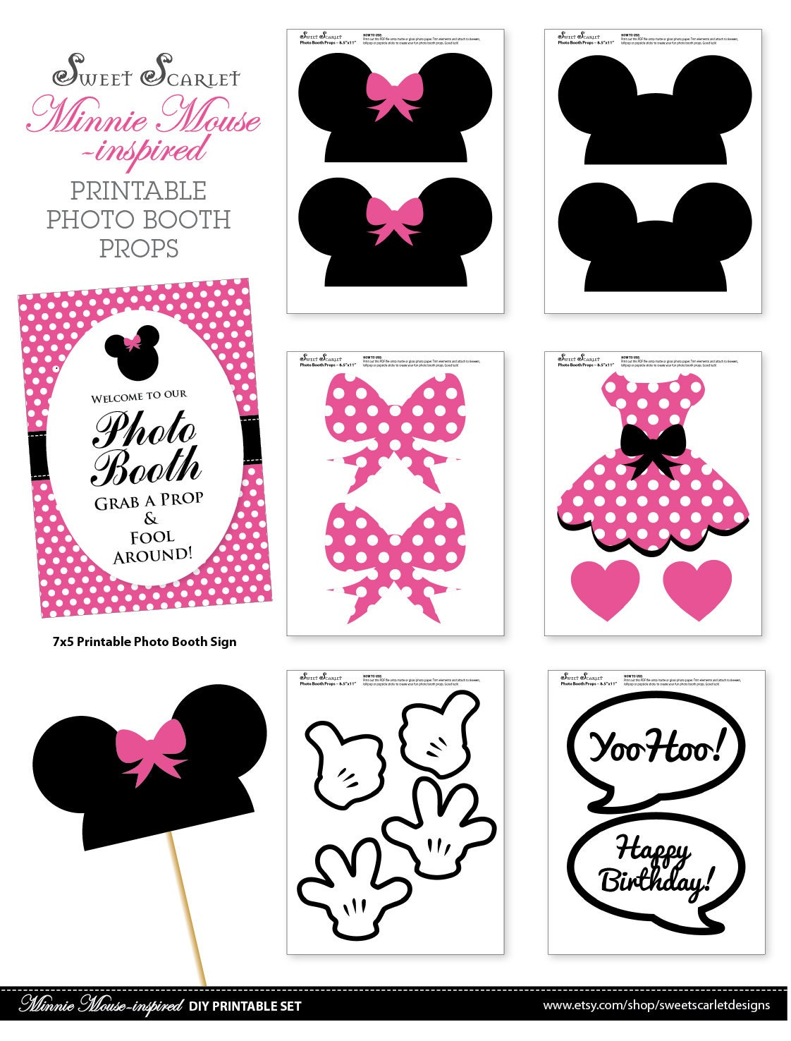 minnie mouse photo booth props in hot pink print your own. Black Bedroom Furniture Sets. Home Design Ideas